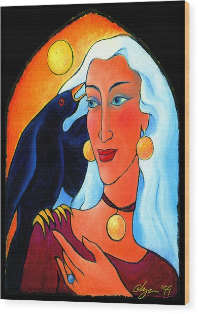 Raven Speaks Wood Print
