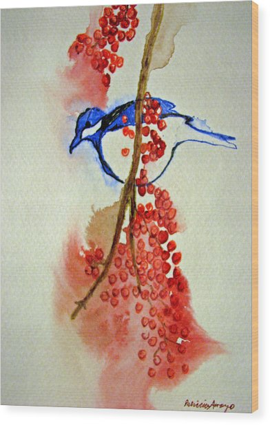 Red Berry Blue Bird Wood Print by Patricia Arroyo