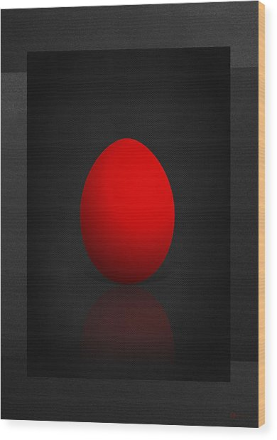 Red Egg On Black Canvas  Wood Print