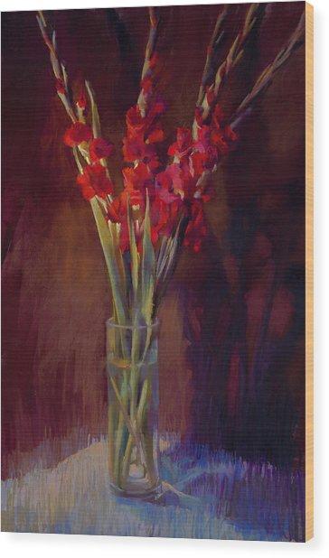 Red Gladiolus Wood Print by Cathy Locke
