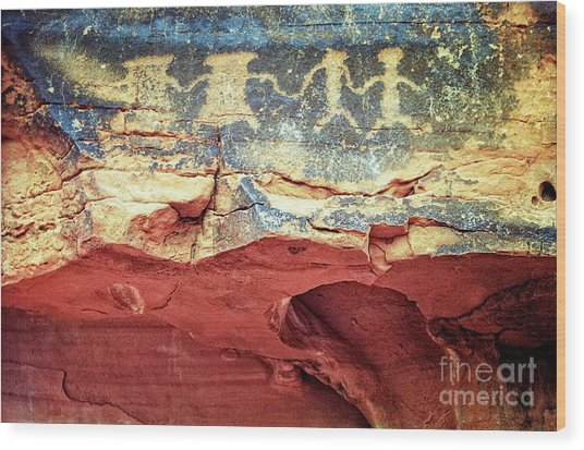 Red Rock Canyon Petroglyphs Wood Print