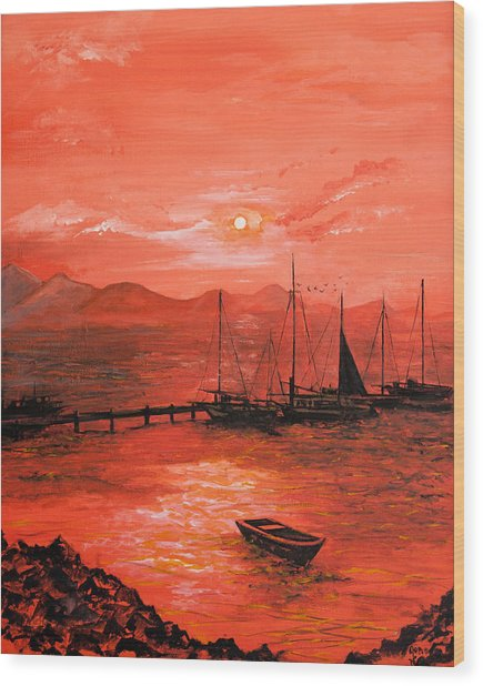 Red Sea Sunset Wood Print by Jane Woodward