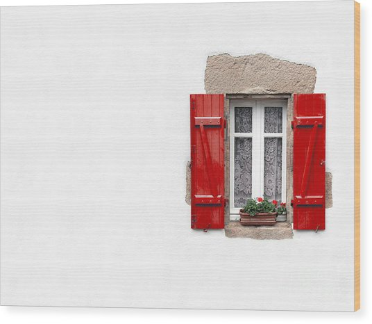 Red Shuttered Window On White Wood Print