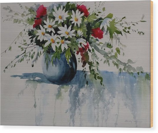 Red White And Blue Bouquet Wood Print