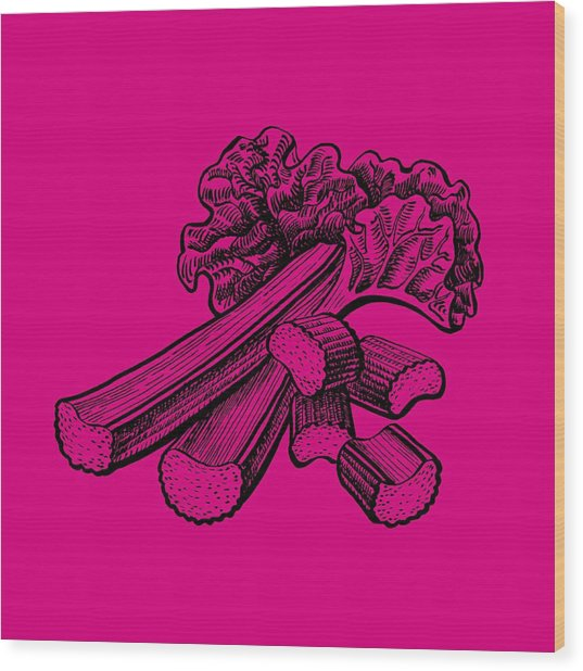 Rhubarb Stalks Wood Print