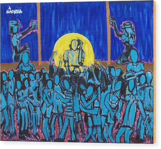 Rhythm Blue Wood Print by Albert Almondia