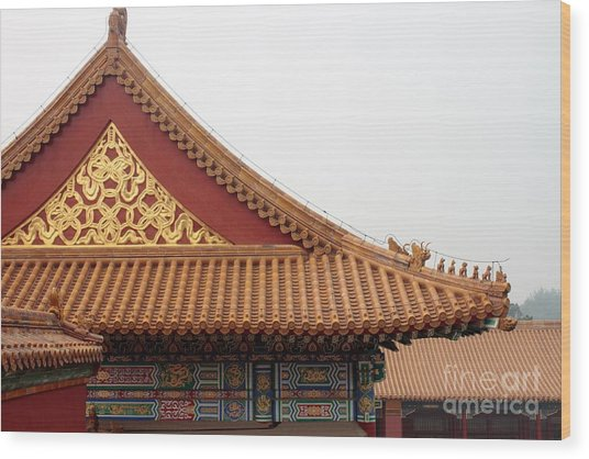 Roof Forbidden City Beijing China Wood Print
