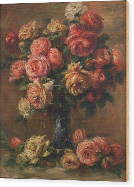 Roses In A Vase Wood Print by Pierre Auguste Renoir