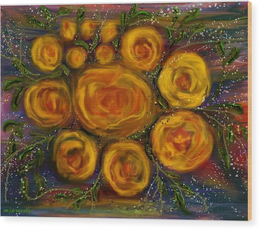 Roses Wood Print by June Pressly