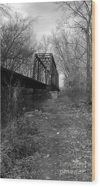 Rusty Railroad Trestle Bridge - Bw Wood Print