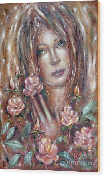 Sad Venus In A Rose Garden 060609 Wood Print