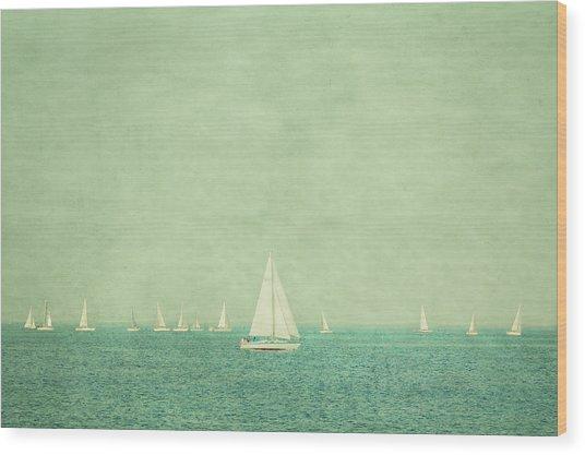 Sailboats In Pastel Wood Print by Erin Cadigan