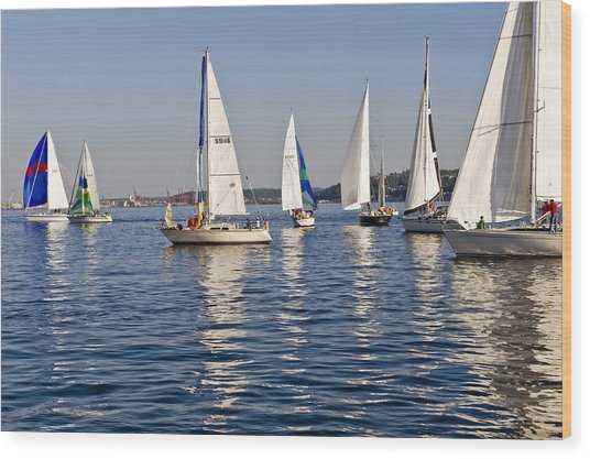 Sailing On Elliott Bay Wood Print by Tom Dowd