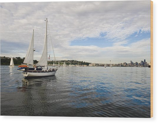 Sailing To Seattle Wood Print by Tom Dowd