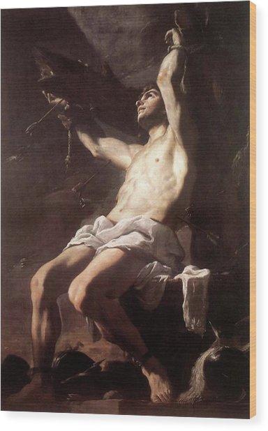 Saint Sebastian By Mattia Preti Wood Print
