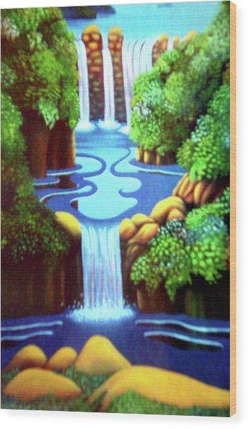 Saltwater Falls Wood Print by Barbara Stirrup
