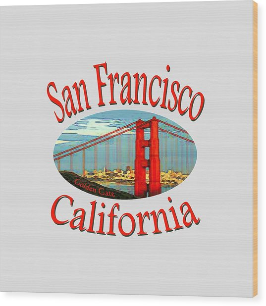 San Francisco California Design Wood Print