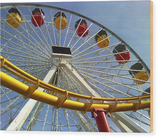 Santa Monica Pier Amusement Park Wood Print