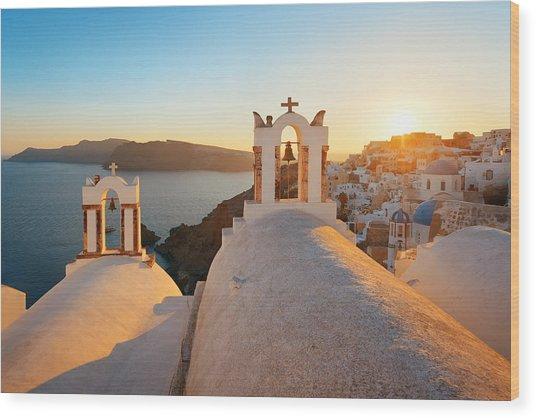 Santorini Skyline Sunset Bell Wood Print by Songquan Deng