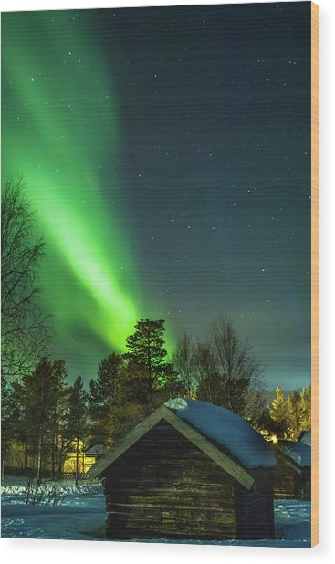 Sapmi Village Under The Northern Lights Karasjok Norway Wood Print