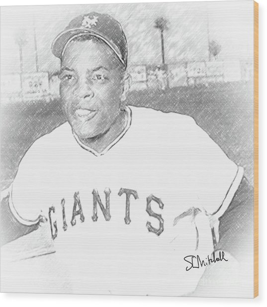 Willie Mays Wood Print