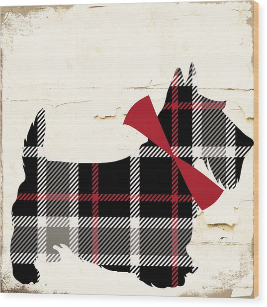 Scottish Terrier Tartan Plaid Wood Print