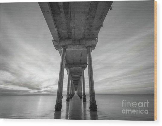 Scripps Pier Bw  Wood Print