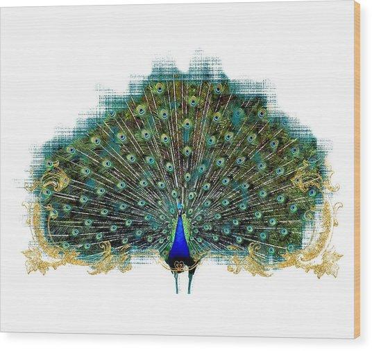 Scroll Swirl Art Deco Nouveau Peacock W Tail Feathers Spread Wood Print