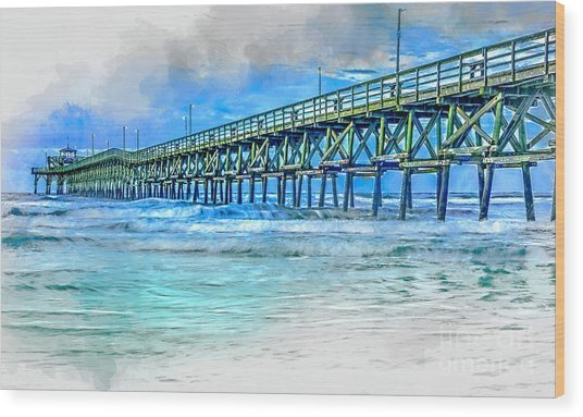 Sea Blue - Cherry Grove Pier Wood Print
