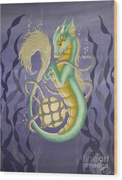Wood Print featuring the painting Sea Dragon II by Mary Hoy