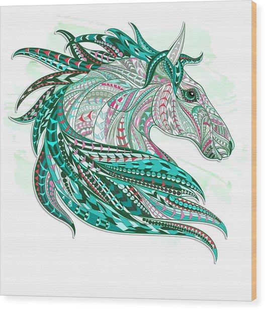 Sea Green Ethnic Horse Wood Print