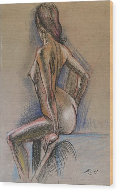 Seated Nude Wood Print by Alejandro Lopez-Tasso
