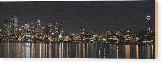 Seattle Skyline Wood Print by Michael Gass