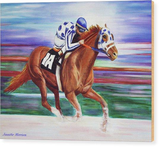 Secretariat Painting Blurred Speed Wood Print