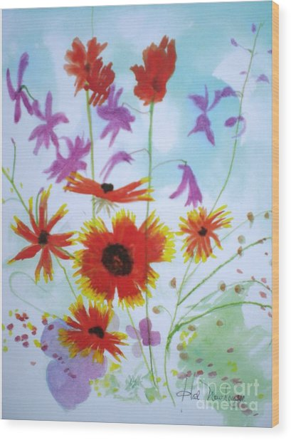 Selected Wild Flowers Wood Print by Hal Newhouser