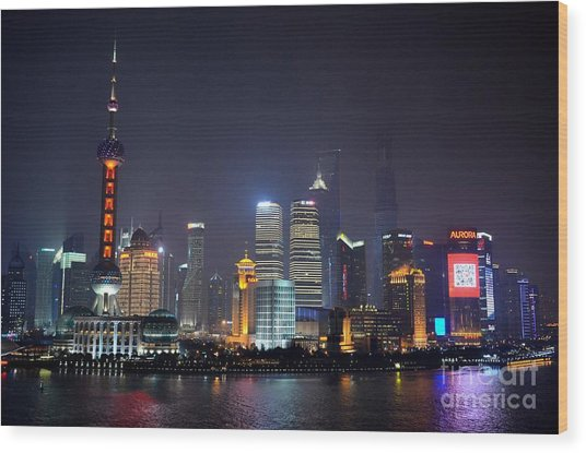 Shanghai China Skyline At Night From Bund Wood Print