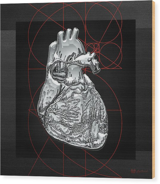 Silver Human Heart On Black Canvas Wood Print