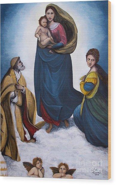 Sistine Madonna Wood Print