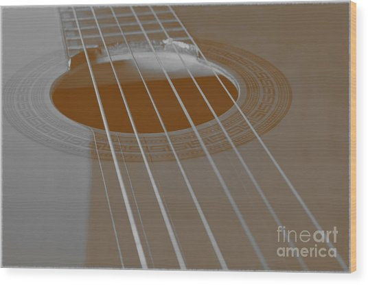 Six Guitar Strings Wood Print