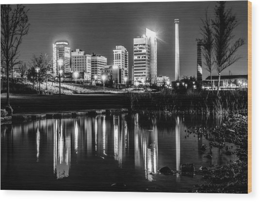 Skyline Of Birmingham Alabama From Railroad Park Wood Print