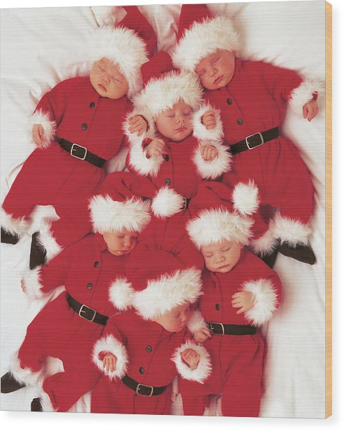 Sleepy Santas Wood Print by Anne Geddes