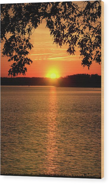 Smith Mountain Lake Silhouette Sunset Wood Print
