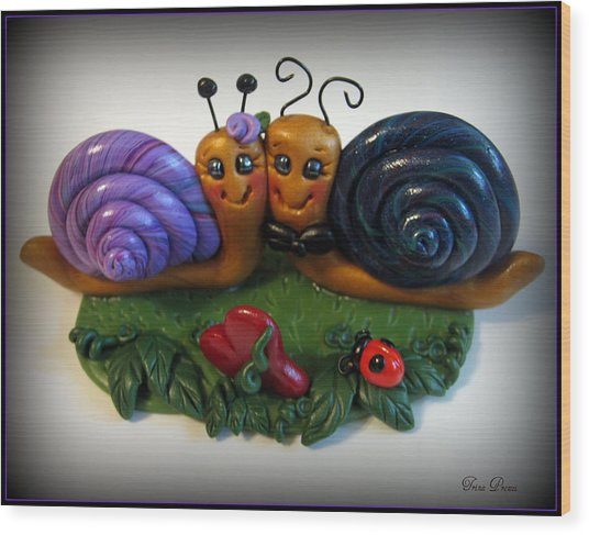 Snails In Love Wood Print by Trina Prenzi