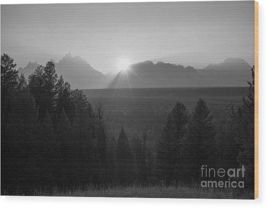 Snake River Sunset Bw Wood Print