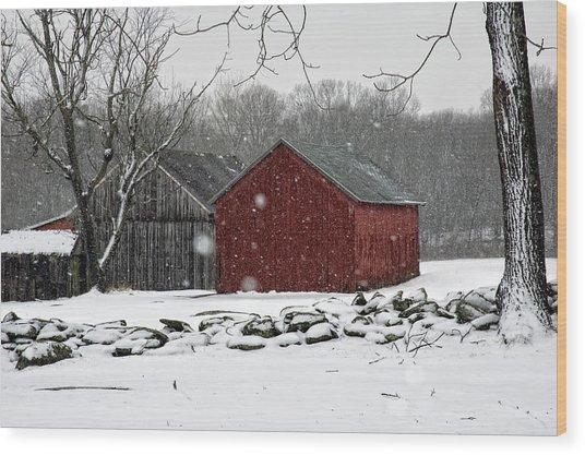 Snow Barns Wood Print