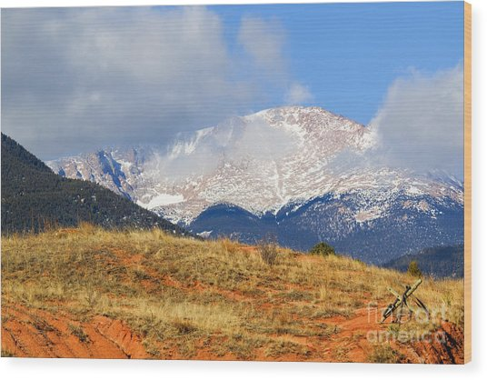 Snow Capped Pikes Peak Colorado Wood Print