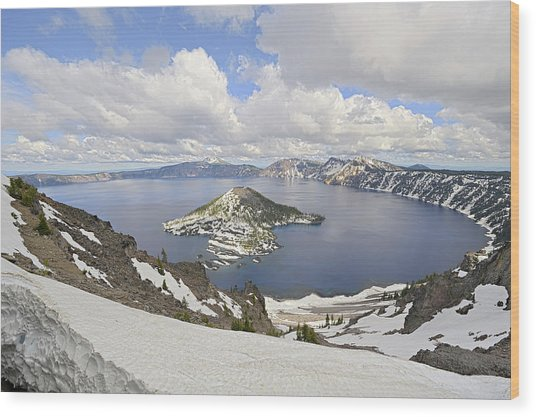 Snow On Crater Lake Hdr Wood Print