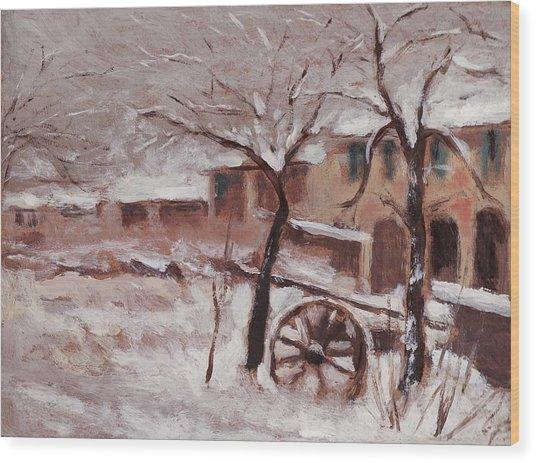 Snow On The Farmhouse Wood Print by Mario Zampedroni