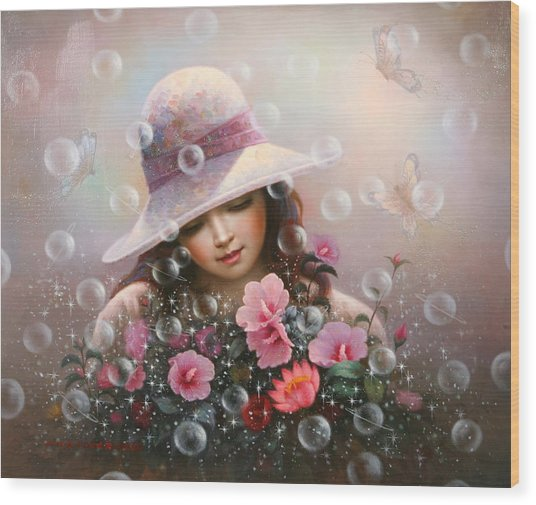 Soap Bubble Girl - Rose Sharon Of Song Wood Print