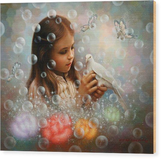 Soap Bubble Girl Wood Print